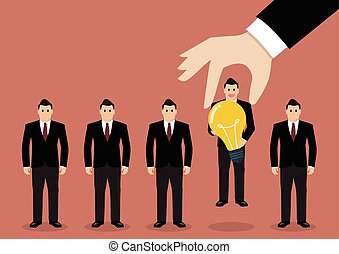 Hand choosing worker who has idea from group of businessmen