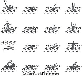 Silhouettes of figures swimmers icons set