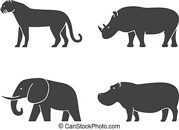 Silhouettes of figures animals icons set - Silhouettes of...