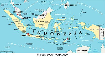 Indonesia Political Map - Indonesia political map with...