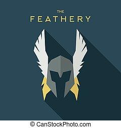 Mask feathery Hero superhero flat style icon vector logo, illustration, villain