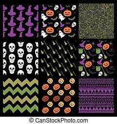 Vector Colorful Sketched Doodle Halloween Patterns Set - Set...