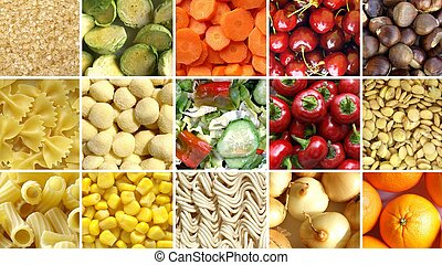 Food collage including 49 pictures of vegetables, fruit,...