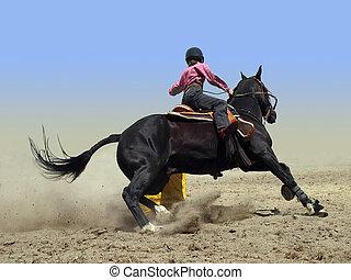 Vaquera, Redondear, tambor, barril, carrera