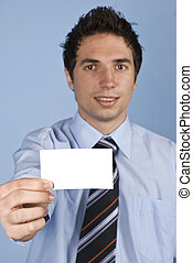 Businessman with visiting card - Businessman holding a...