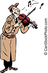 Violinist cartoon character playing violin