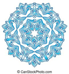 Blue Snowflake Ilustration on white background isolated on...