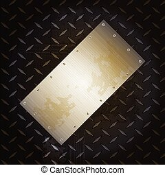 Black metallic diamond plate with grunge brushed metal panel...