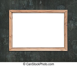 Blank white board with wooden frame