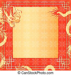 frame red dragon gold-colored sticker