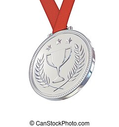 Silver medal with laurels, stars and cup Round blank coin...