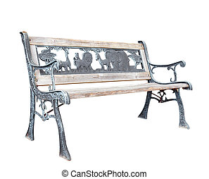 Old Bleached Park Bench with Zoo Theme isolated with...
