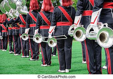 amaestrado, uniforme, banda, latón,  windband, o