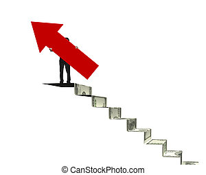 Businessman holding red arrow sign on money stairs