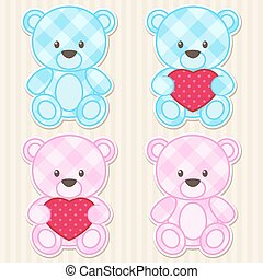 Teddy bears in blue and pink colors