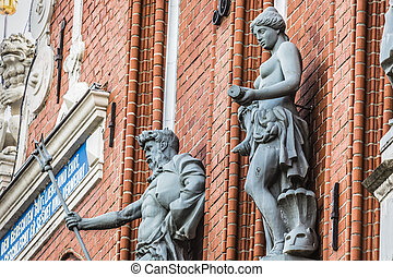 Sculptures on the facade of the House of Blackheads in Riga,...
