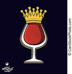 Sophisticated luxury wineglass with golden imperial crown...