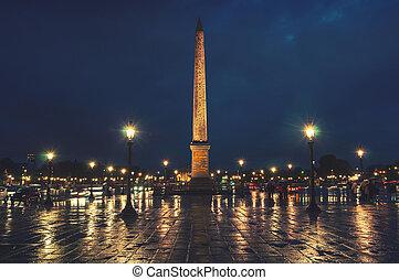 Place de la Concorde in Paris, France at night