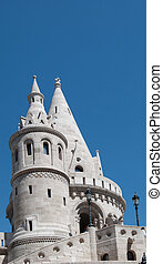 Fishermans Bastion built in neo-gothic style with conical...