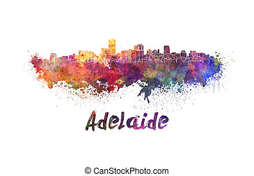 Adelaide skyline in watercolor splatters with clipping path