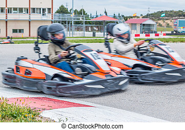 Taking over in the karting race