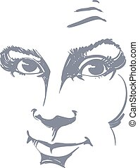 white skin attractive skeptic lady - Graphic vector...