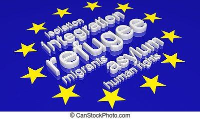 europeu, união, bandeira, com, texto, associado, com,...