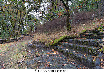 Eagle Creek Overlook Hiking Trail at Columbia River Gorge in...