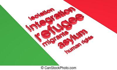 bandeira, de, Itália, com, texto, associado, com,...
