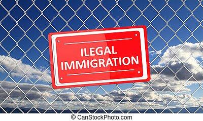 Corrente, cerca, com, vermelho, sinal, ilegal, Immigration,...