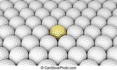 Golf balls abstract background with one gold in the middle