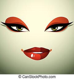 Emotional expression on the face of a cute girl. Beautiful distrustful woman with a stylish makeup.