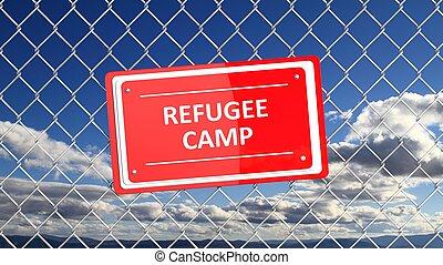 Corrente, cerca, com, vermelho, sinal, refugiado, camp,...