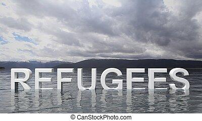 refugiado, texto, emergir, De, água, com, montanhas, e, céu,...