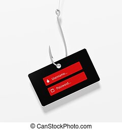 Fishing hook with username and password tag, isolated on...