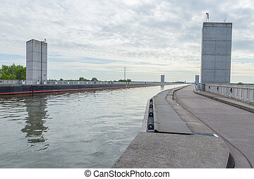 Elbe-Havel Canal - Bridge of the Elbe-Havel canal across the...