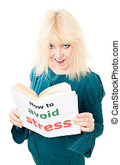 Happy woman know how to avoid stress - Positive woman read...