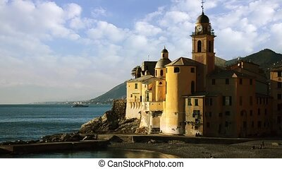 camogli, the church - characteristic Italian town cityscape