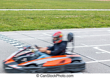 The winner of the karting race - Finishing the karting race...