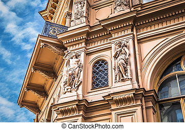 Fragment of Art Nouveau architecture style of Riga city ,...