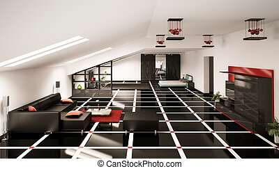 Penthouse interior 3d render - Penthouse living room and...