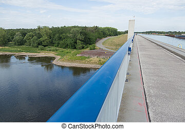 Railing at Elbe-Havel Canal - Bridge of the Elbe-Havel canal...
