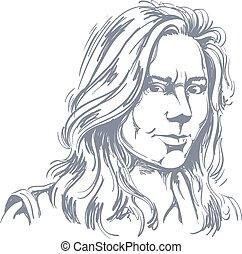 Vector illustration of woman - Hand-drawn vector...