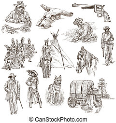 Indians and Wild West - An hand drawn pack. - INDIANS and...