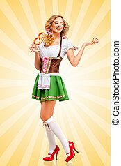 Soft and salty - Beautiful sexy Oktoberfest woman wearing a...