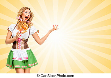 Strong emotions - Sexy Oktoberfest woman wearing a...