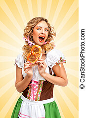 Excited and hungry - Beautiful sexy Oktoberfest woman...