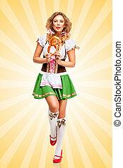 Happy dances - Beautiful happy dancing Oktoberfest woman...