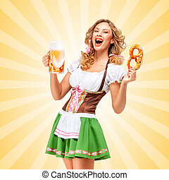 Serving at Oktoberfest. - Sexy Oktoberfest waitress wearing...