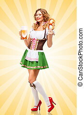 Beer and snack - Beautiful sexy Oktoberfest woman wearing a...